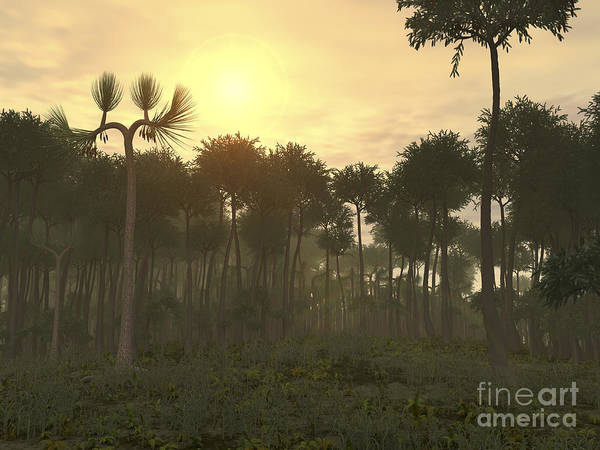 Paleobotany Digital Art - A Carboniferous Forest Of Midwestern by Walter Myers