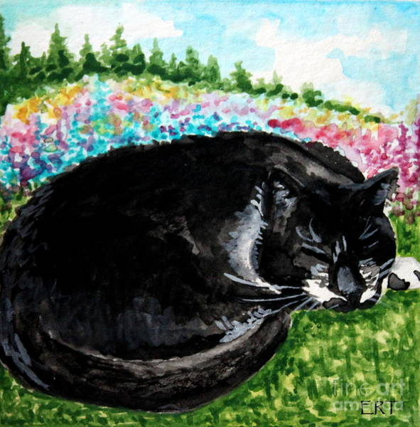 Painting - A Cat Nap In The Meadow by Elizabeth Robinette Tyndall