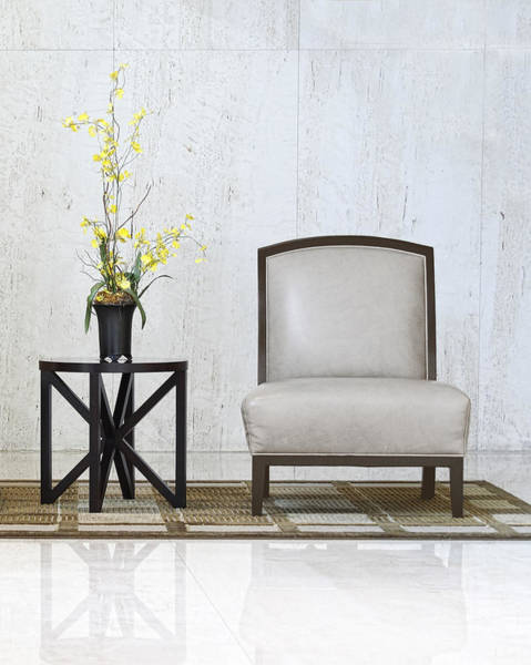 A Chair And A Table With A Plant  Art Print