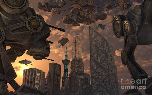 Assault Weapons Digital Art - A City Of The Future Guarded By Battle by Mark Stevenson