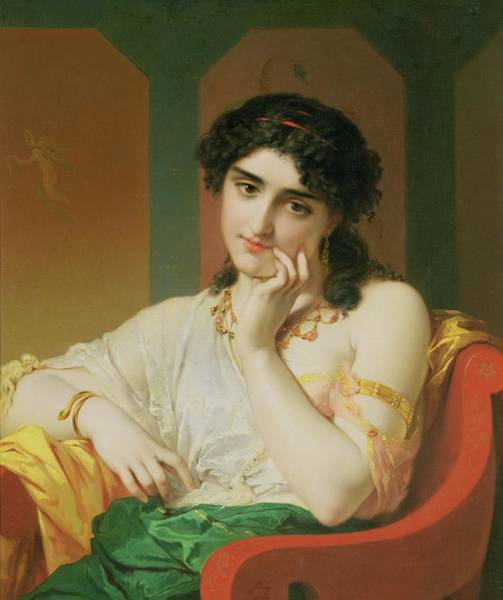 Pensive Painting - A Classical Beauty by Oliver Joseph Coomans