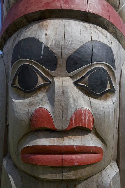 Queen Charlotte Islands Wall Art - Photograph - A Close View Of The Carvings Of A Totem by Taylor S. Kennedy