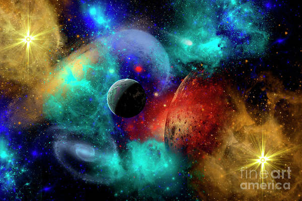 Complexity Digital Art - A Colorful Part Of Our Galaxy by Mark Stevenson