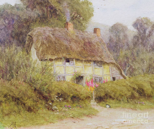 Half Timbered Painting - A Country Cottage by Helen Allingham