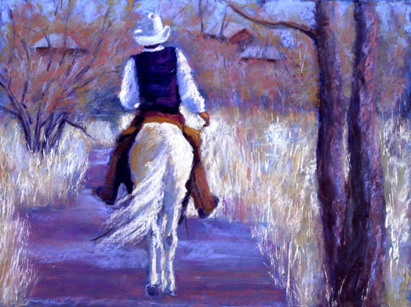 Wall Art - Painting - A Cowboy Going Home by Cheryl Whitehall