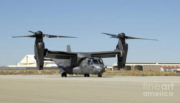 Mv-22 Photograph - A Cv-22 Osprey Prepares For Take-off by Stocktrek Images