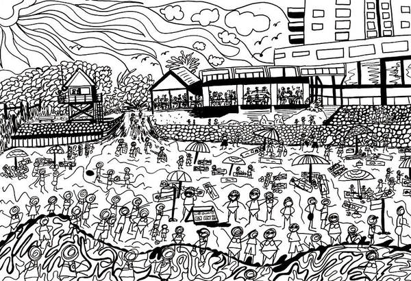 Wall Art - Drawing - A Day At The Beach by Karen Elzinga