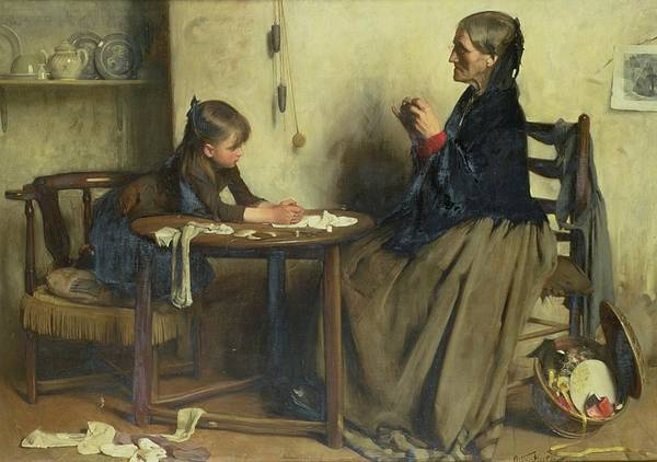 Mending Painting - A Difficulty by Arthur Hacker