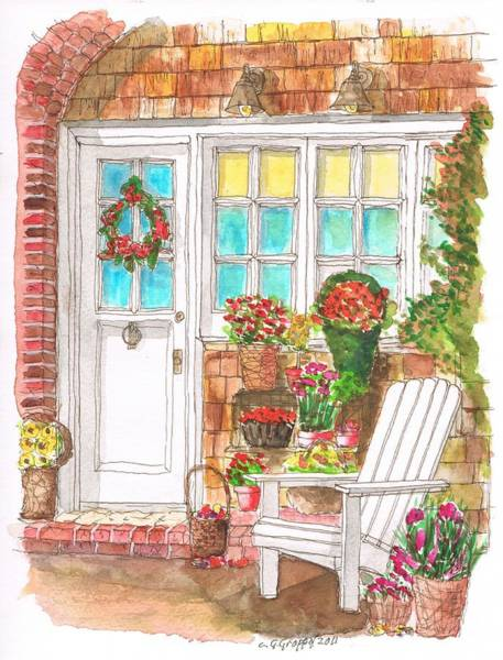 Acuarela Painting - A Door With A Chair And A Lot Of Flowers by Carlos G Groppa