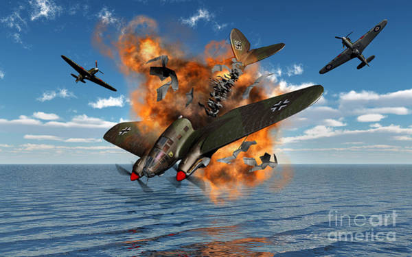 Debris Digital Art - A German Heinkel Bomber Crashes by Mark Stevenson