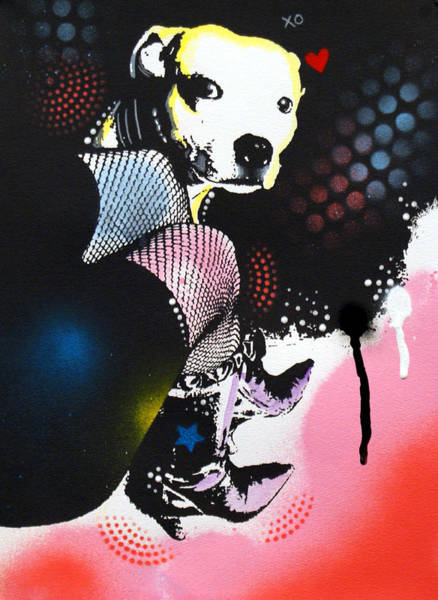 Pitbull Painting - A Girl's Best Friend by Dean Russo Art