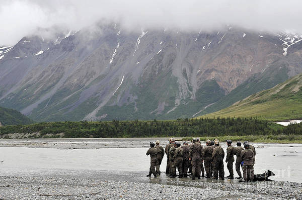 Navy Seal Photograph - A Group Of Navy Seals Prepares To Cross by Stocktrek Images