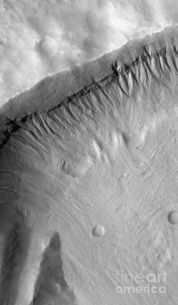 Photograph - A Gullied Crater Wall In The Terra by Stocktrek Images