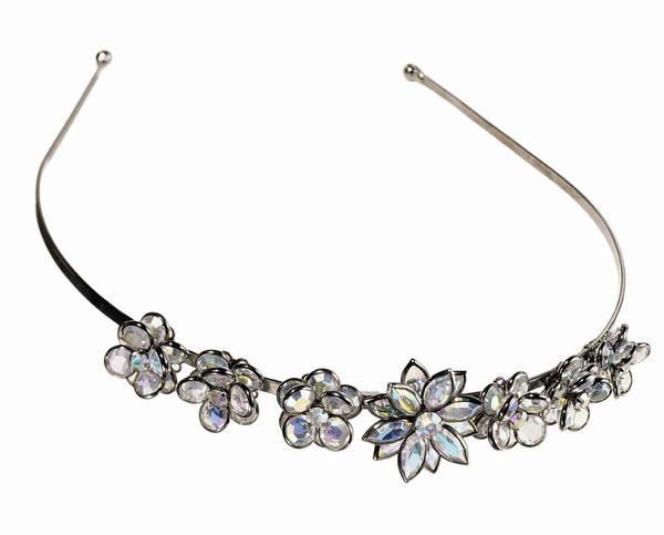 Headband Photograph - A Headband With Rhinestone Crystal Flowers by Steve Wisbauer