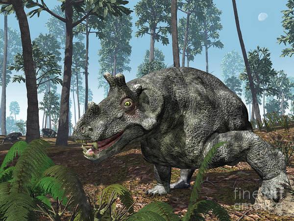 Paleobotany Digital Art - A Herbivorous Dinocephalian Therapsid by Walter Myers