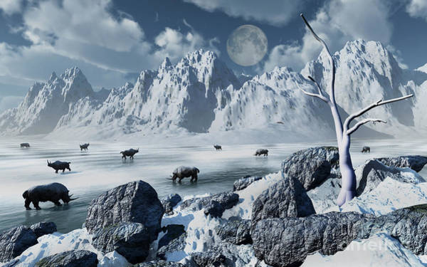 Frozen Lake Digital Art - A Herd Of Woolly Rhinoceros In A Severe by Mark Stevenson