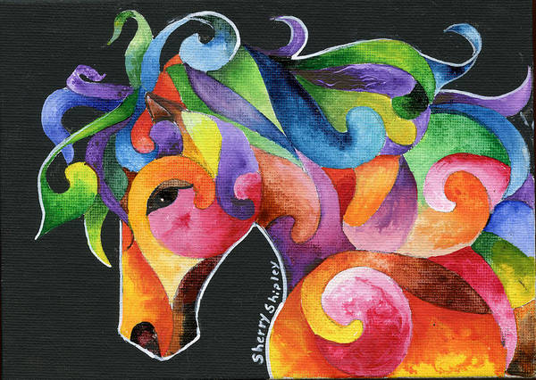 Painting - A Horse Of Many Colors by Sherry Shipley