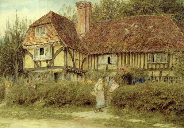 Half Timbered Painting - A Kentish Cottage by Helen Allingham