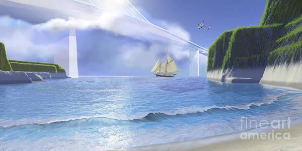 Schooner Digital Art - A Ketch Sails Underneath A Very High by Corey Ford