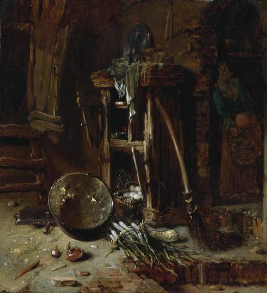 Messy Painting - A Kitchen Corner by Willem Kalf