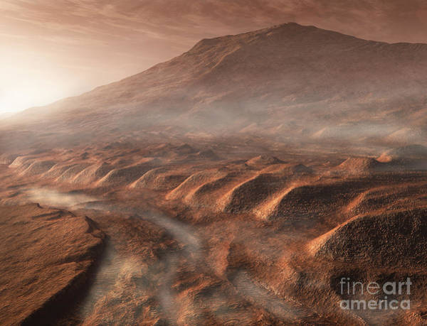 Mound Digital Art - A Light Fog Forms In A Desiccated Gully by Steven Hobbs