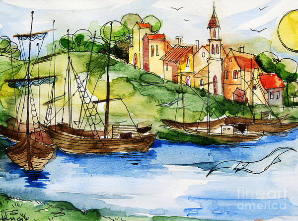 Paysage Wall Art - Painting - A Little Fisherman's Village by Mona Edulesco