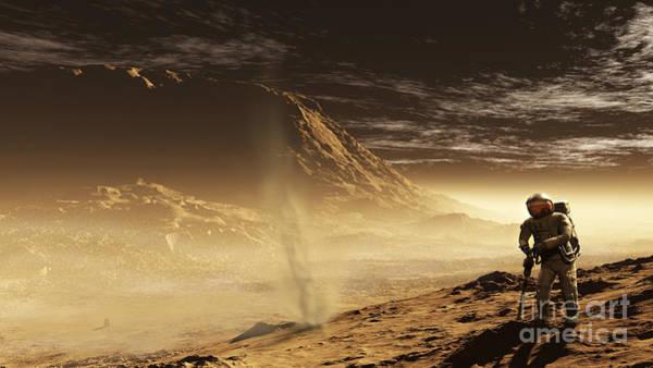Mound Digital Art - A Lone Astronaut Drills by Steven Hobbs