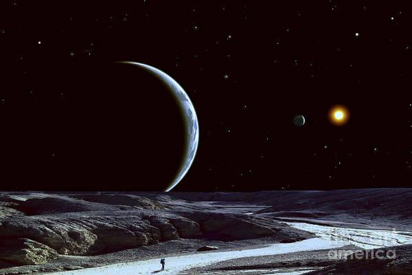 Voyage Digital Art - A Lone Explorer Follows An Ancient by Frank Hettick