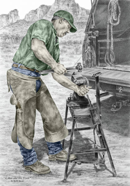 Drawing - A Man And His Trade - Farrier Art Print Color Tinted by Kelli Swan