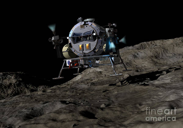 Orion Digital Art - A Manned Asteroid Lander Prepares by Walter Myers