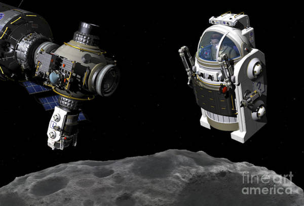 Orion Digital Art - A Manned Maneuvering Vehicle Prepares by Walter Myers
