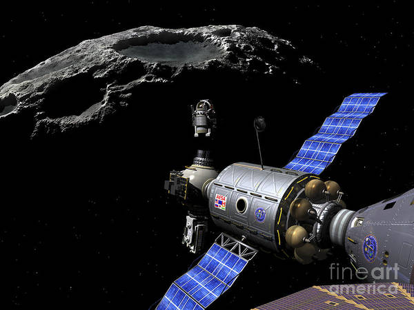 Orion Digital Art - A Manned Maneuvering Vehicle Undocks by Walter Myers