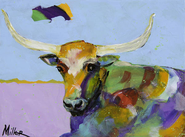 Longhorn Painting - A Moment Of Rest by Tracy Miller