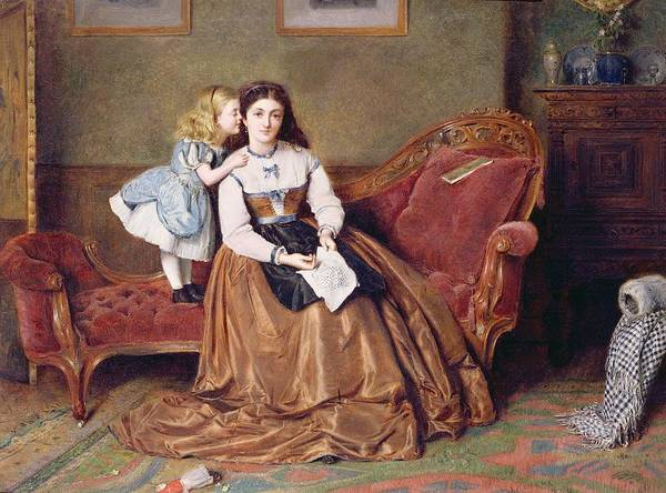 Embroidery Painting - A Mother's Darling by George Goodwin Kilburne
