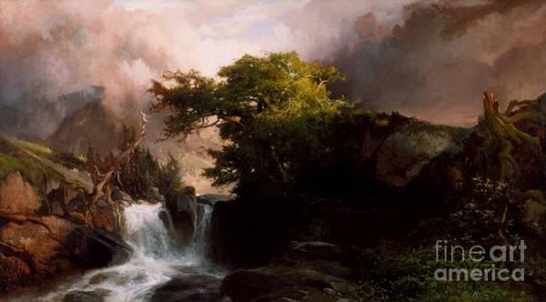 Cascade Painting - A Mountain Stream by Thomas Moran