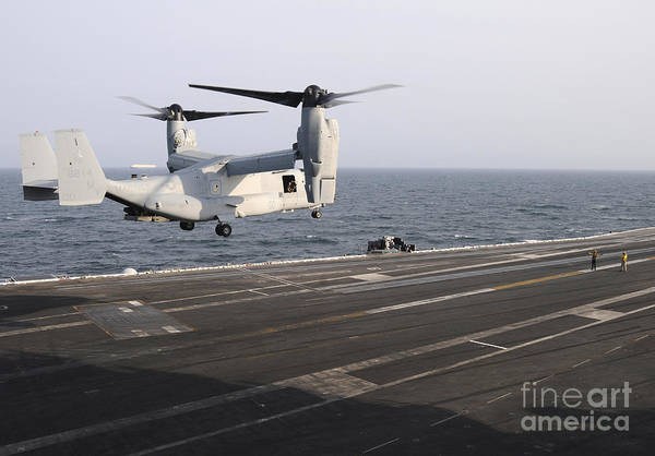 Mv-22 Photograph - A Mv-22 Osprey Prepares To Land by Stocktrek Images