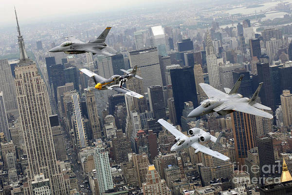 Photograph - A P-51 Mustang, An F-16 Fighting by Stocktrek Images