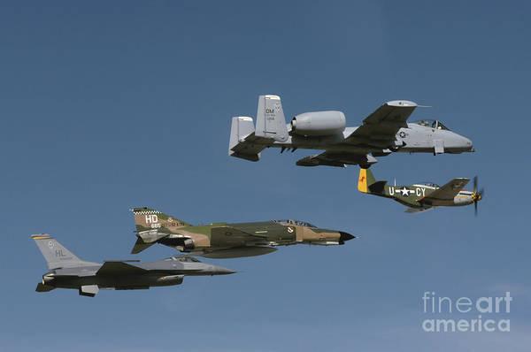 Photograph - A P-51 Mustang, An F-4 Phantom, An A-10 by Stocktrek Images