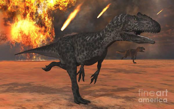 Digital Art - A Pair Of Allosaurus Dinosaurs Running by Mark Stevenson
