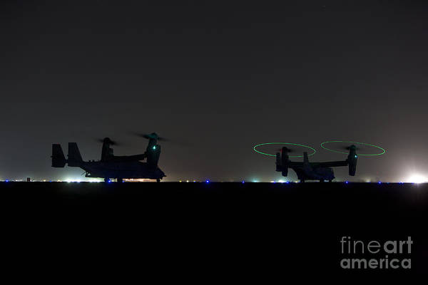 Special Operations Forces Photograph - A Pair Of Special Forces Cv-22 Osprey by Terry Moore