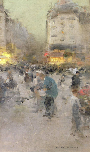 City Scene Painting - A Paris Street Scene by  Luigi Loir