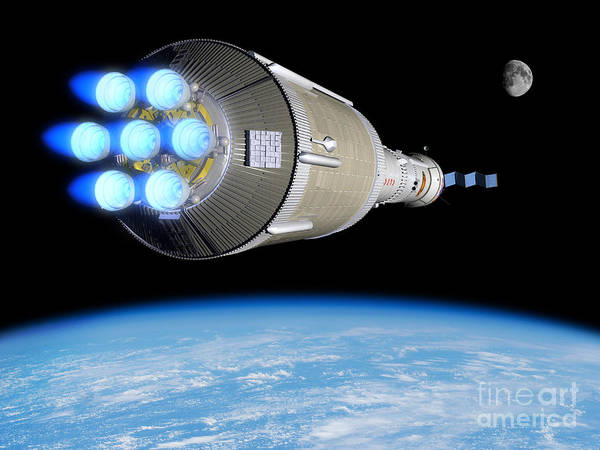 Orion Digital Art - A Phobos Mission Rocket Ignites by Walter Myers