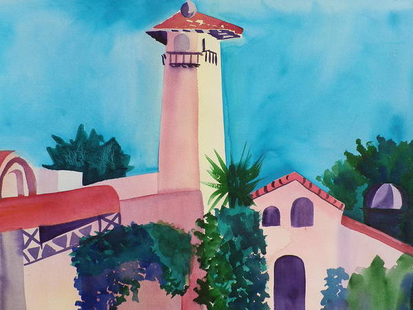 Elwood Blues Painting - A Phoenix Adobe Tower by Jann Elwood