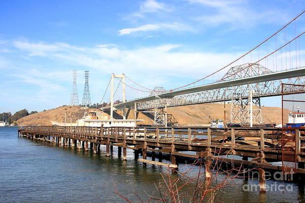 Alfred Zampa Wall Art - Photograph - A Pier A Bridge And A Bridge by Wingsdomain Art and Photography