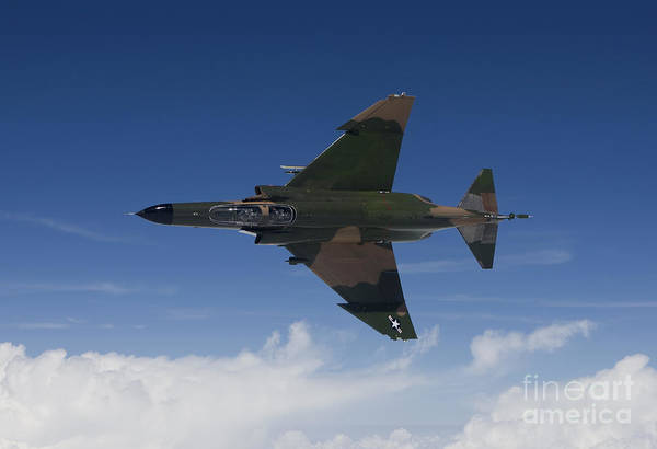 Interceptor Photograph - A Qf-4e Aircraft Flies Over The Gulf by HIGH-G Productions
