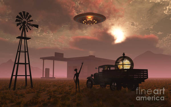 Cyborg Digital Art - A Remote Meeting Place Where Aliens by Mark Stevenson