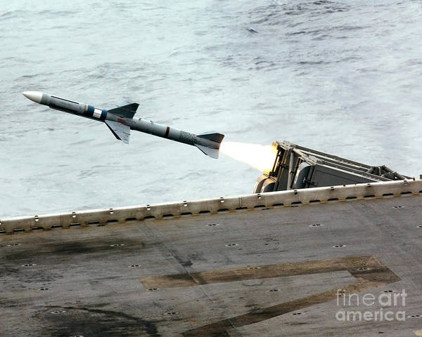 Aft Photograph - A Rim-7m Sea Sparrow Missile Is Fired by Stocktrek Images