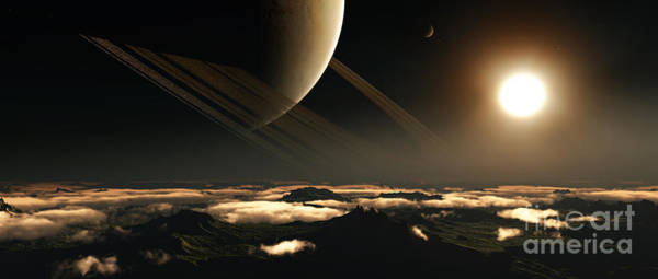 Cosmology Digital Art - A Ringed Planet Rises In The Night Sky by Frieso Hoevelkamp