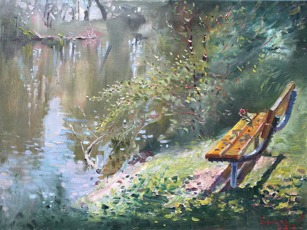 Lake Shore Wall Art - Painting - A Rose On The Bench by Ylli Haruni
