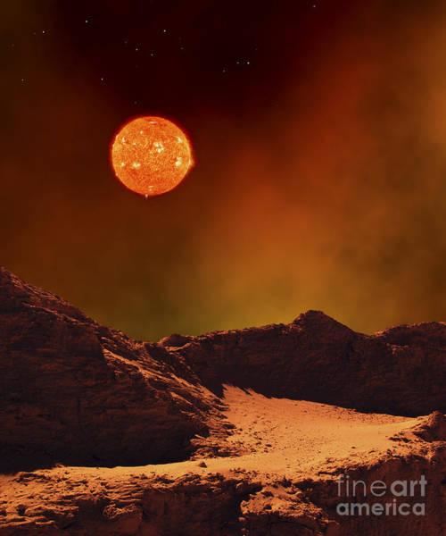 Digital Art - A Rugged Planet Landscape Dimly Lit by Frank Hettick